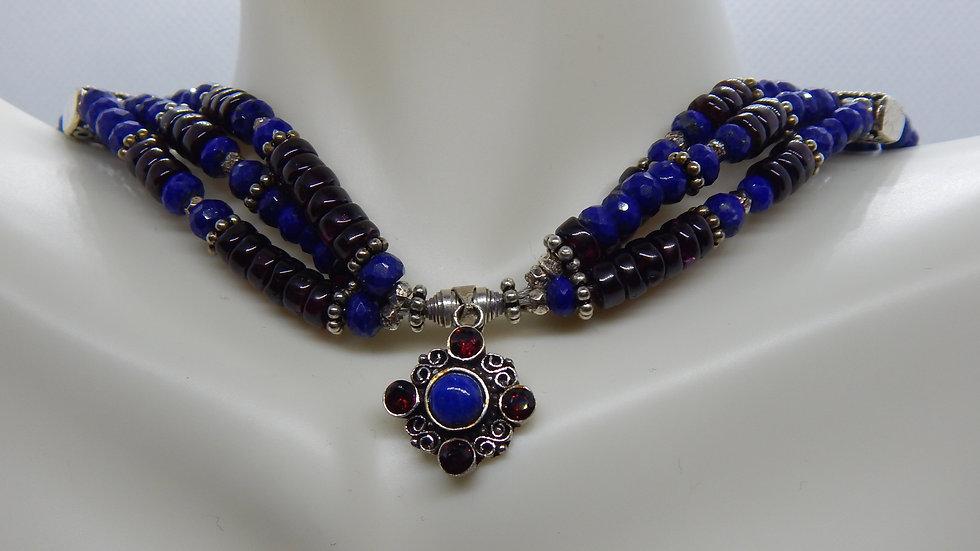 Garnet, Lapis Lazuli, and Sterling Silver Choker