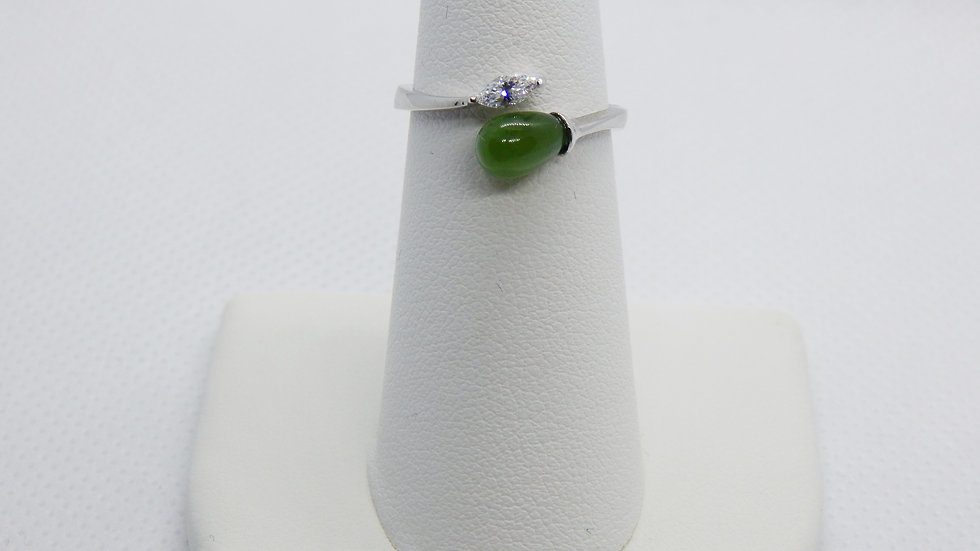 Women's Nephrite Jade and Cubic Zirconia Sterling Silver Ring
