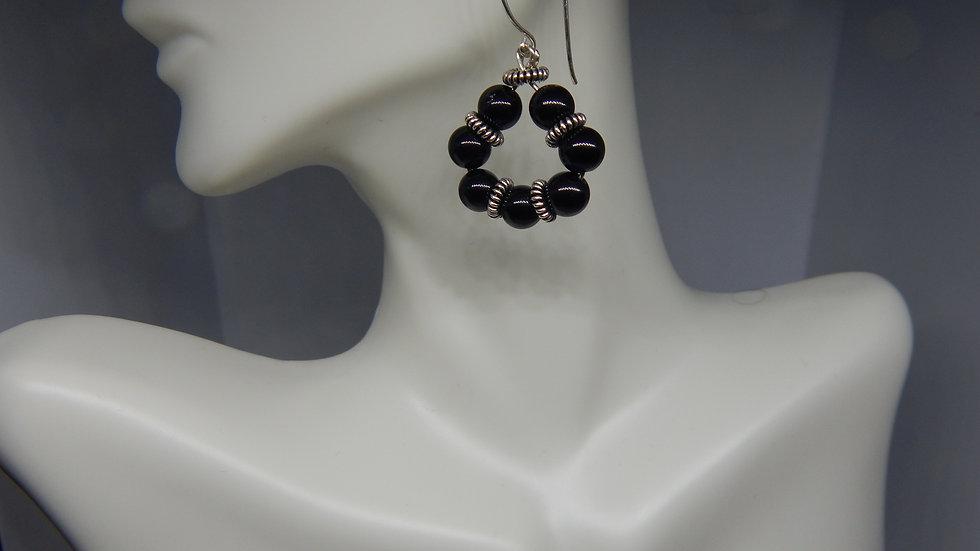 Black Onyx & Antique Sterling Silver Earrings