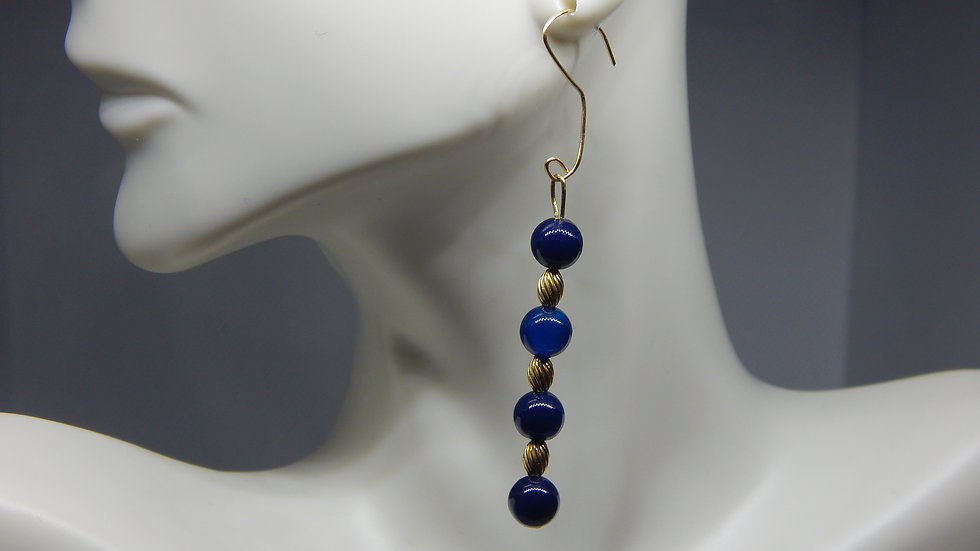 Dyed Blue Agate & Oval Gold Filled Bead Earrings