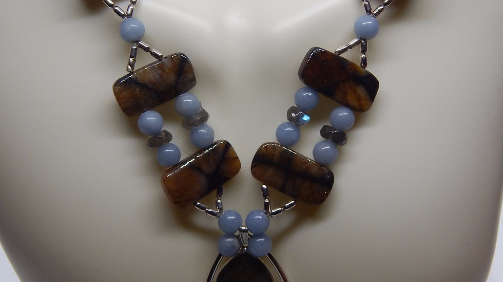 Chiastolite, Angelite, Labradorite, and Sterling Silver Necklace