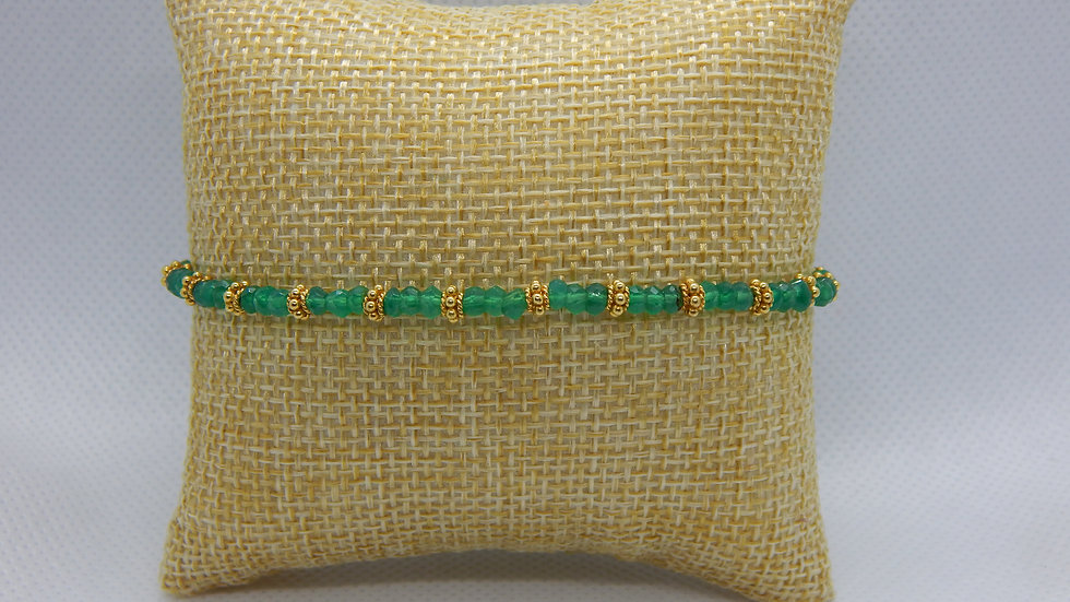 Green Onyx and Gold Vermeil Bracelet
