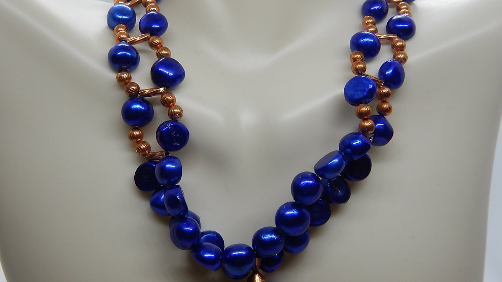 Dyed Blue Pearl and Copper Choker