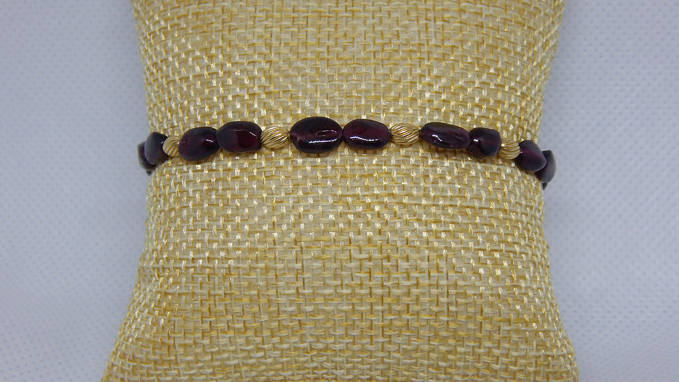 Garnet and Gold Filled Bracelet