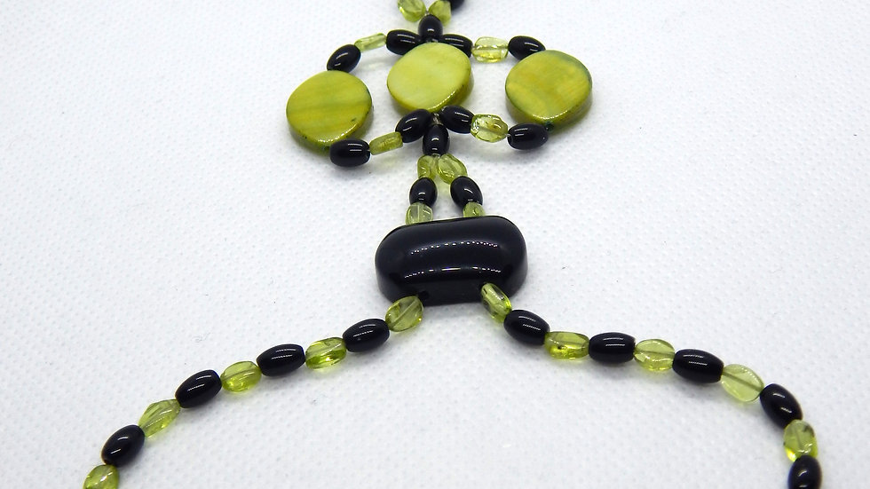 Peridot, Black Onyx, and Mother of Pearl Hand/Foot Adornment
