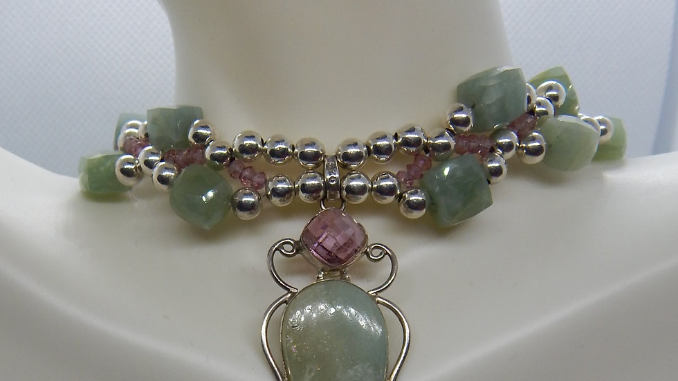 Amazonite, Pink Topaz, and Sterling Silver Choker
