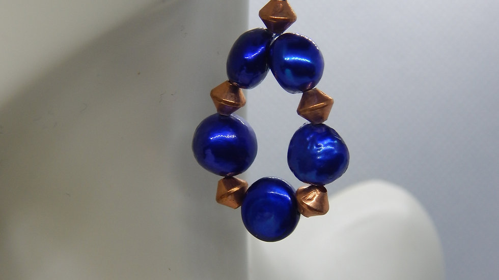 Dyed Blue Pearl and Copper Earrings