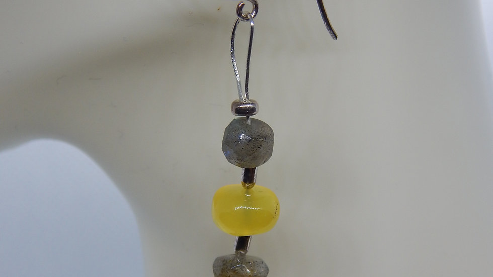 Labradorite, Yellow Chalcedony, and Sterling Silver Earrings