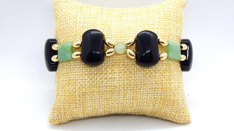 Black Onyx, Green Aventurine, and 14K Gold Bracelet
