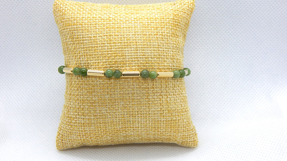 Nephrite Jade and Gold Fill Bracelet