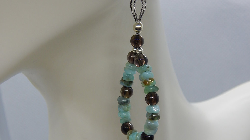Peruvian Opal, Smoky Quartz, and Sterling Silver Earrings
