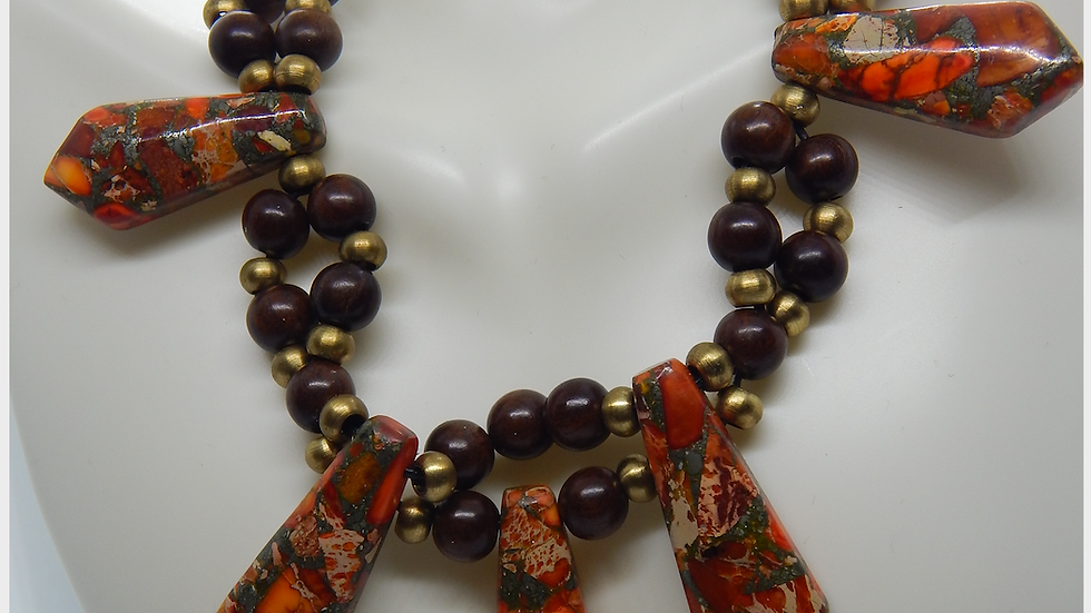 Orange Sea Sediment Jasper, Brass, and Wood Bead Choker