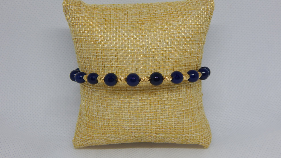 Dyed Blue Agate & Oval Gold Filled Bead Wrap Bracelet