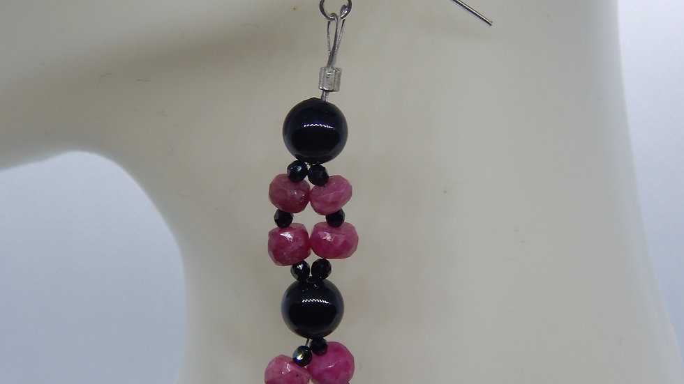 Ruby, Black Onyx, and Black Spinel Earrings
