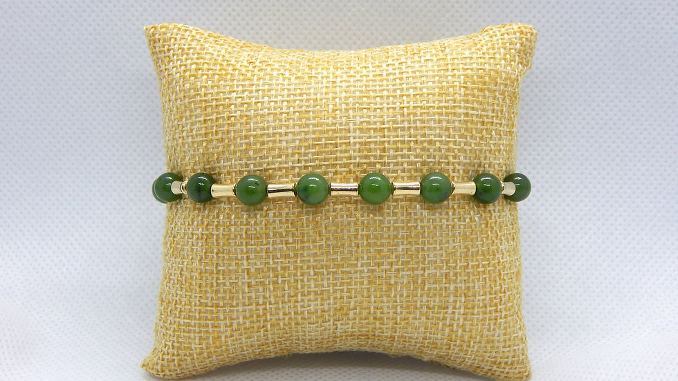 Nephrite Jade and Gold Fill Bracelet (Bamboo)