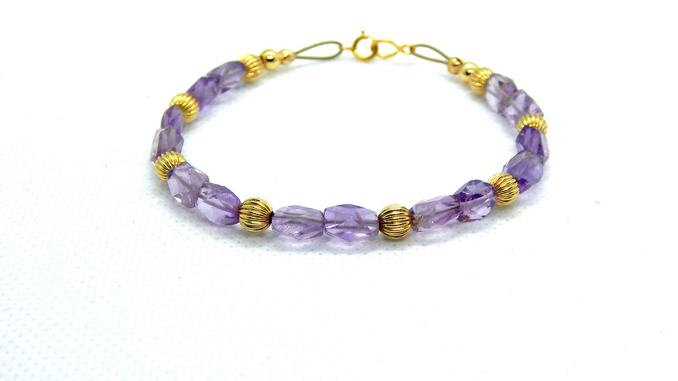 Amethyst and Gold Fill Bracelet
