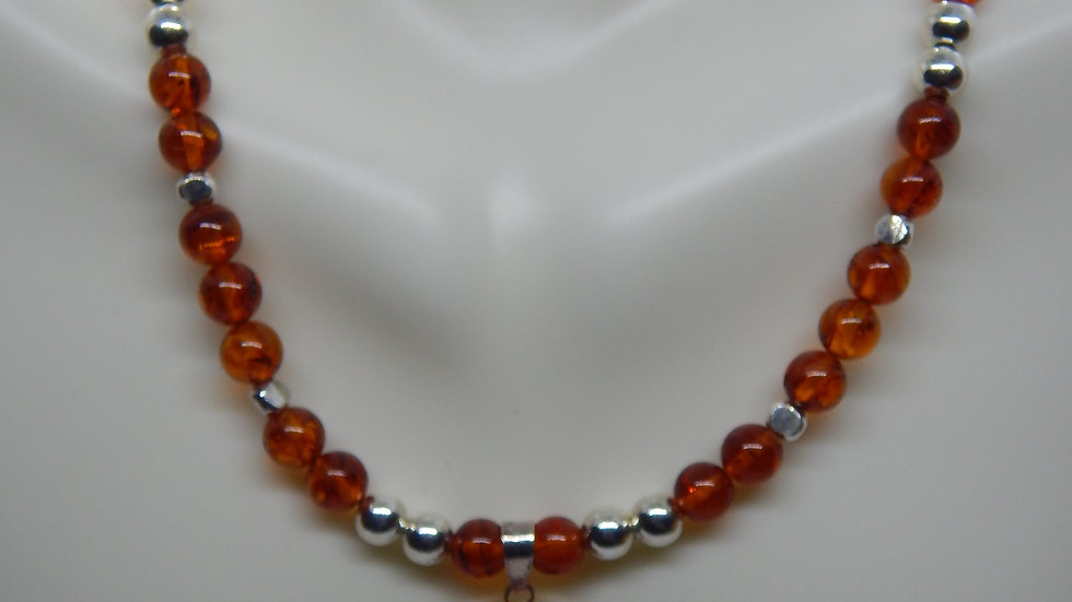 Amber and Sterling Silver Choker