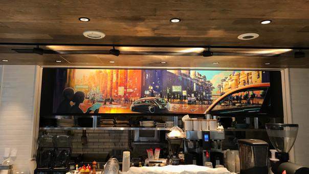 【KensukeTakahashi】東急プラザ銀座内にあるカフェ、Me's CAFE & KITCHEN at METoA Ginza様へ、壁面イラストを提供させていただきました