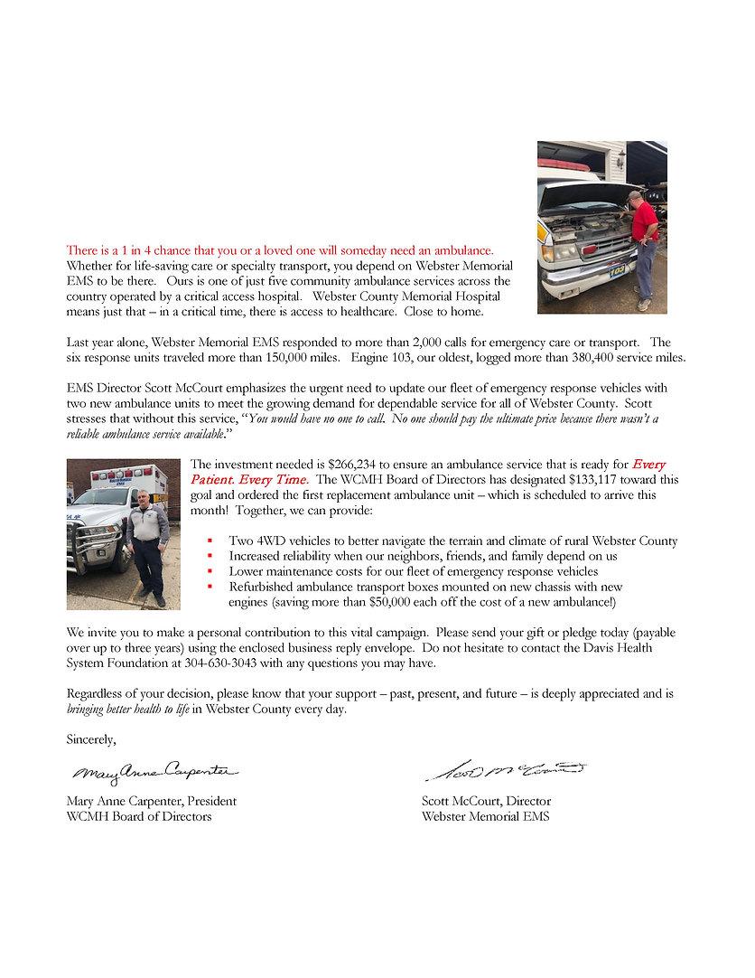 Ambulance Appeal Letter for Webster Coun