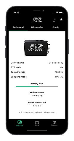 BYB Telemetry smartphone app for iOS