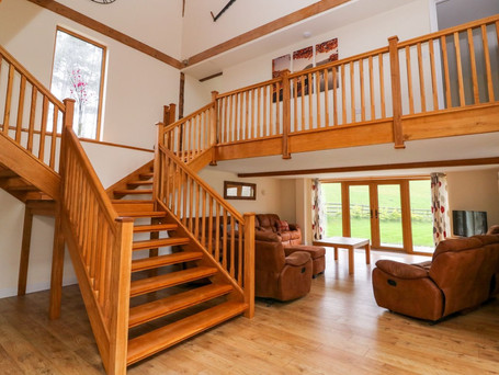 Oak Staircase and Living Room, The Stables Holiday Cottage, Mid Wales