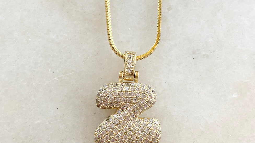 Crystal Bubble Letter  Charm Necklace