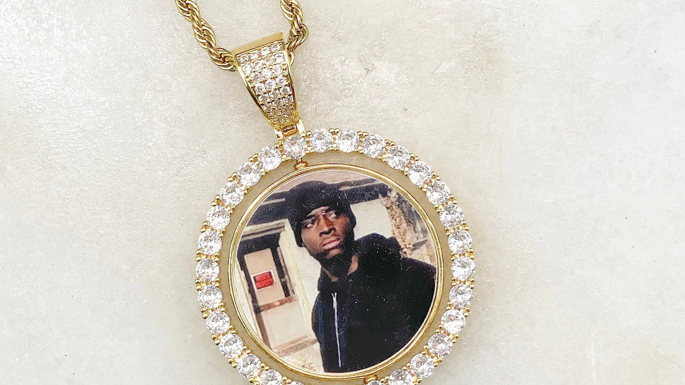 Flip Custom Crystal 2 Picture Necklace