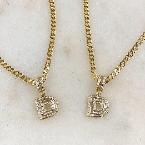 Crystal Pave Bubble Letter  Charm Necklace