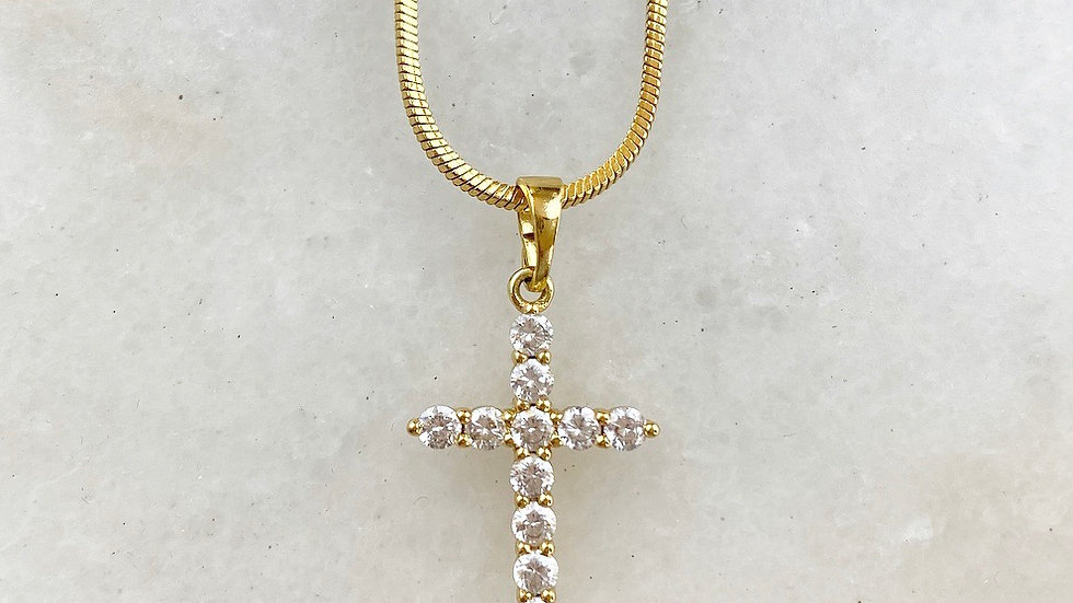 18k Gold Filled Crystal Cross Necklace II