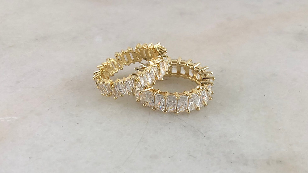 14k Gold/White Gold Plated Stackable Crystal Rings