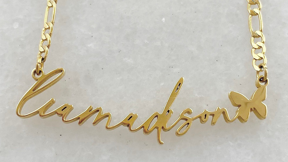 MINI Butterfly Name Plate Necklace