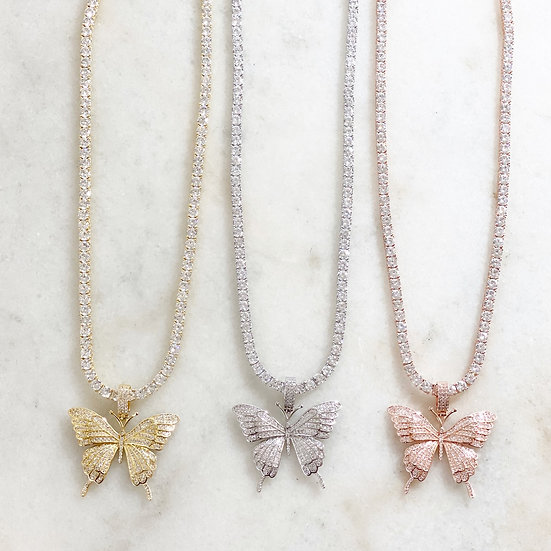 Crystal Butterfly Tennis Chain
