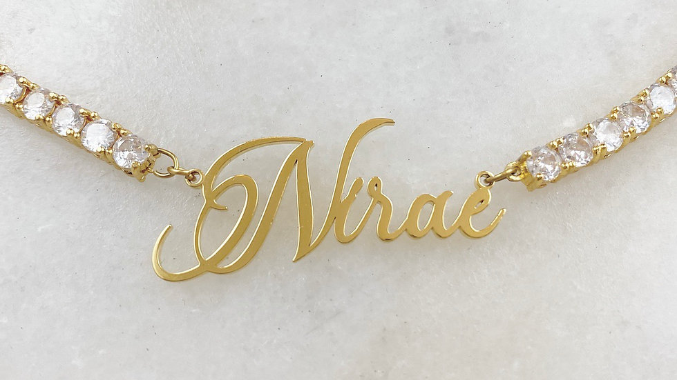 Tennis Name Plate Necklace