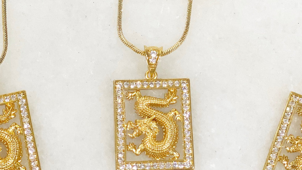 18k Gold Filled Dragon Charm Necklace