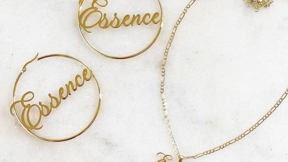 Mini Pendant Name Plate Necklace & Hoop Set