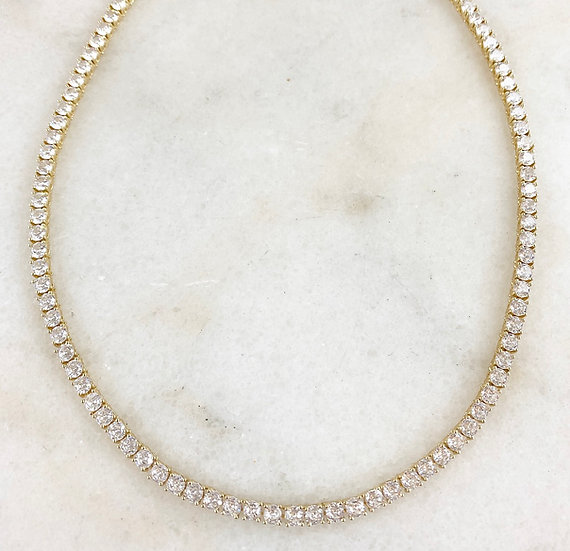18k Gold Plated Crystal Tennis Necklace