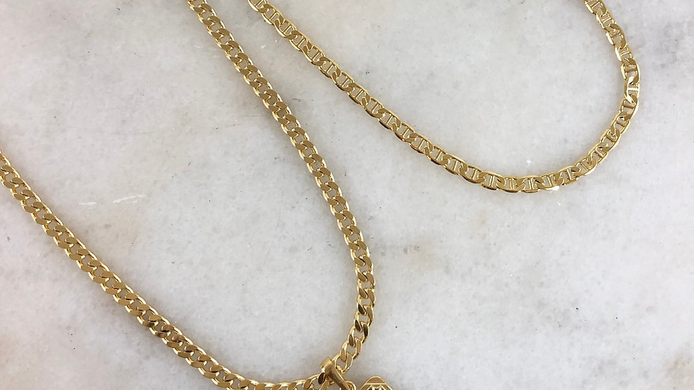 Men's Initial Charm Necklace With Custom Chain
