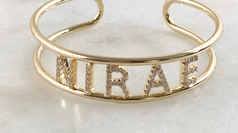 Crystal Name Bangle Bracelet