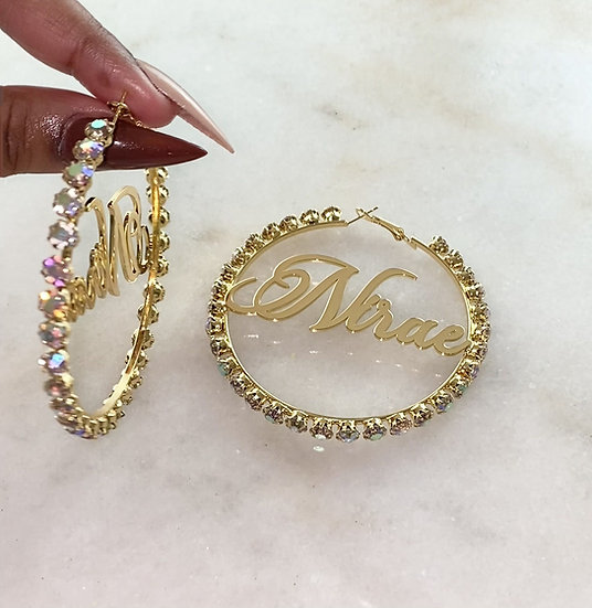 Iridescent Crystal Name Plate Hoops