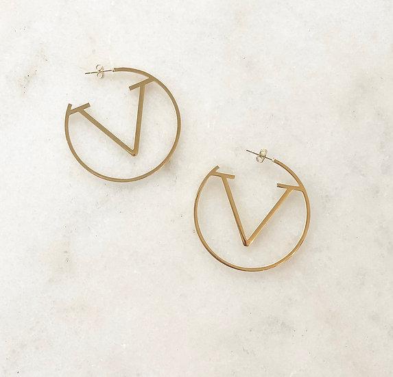 Classy V Hoop Earrings