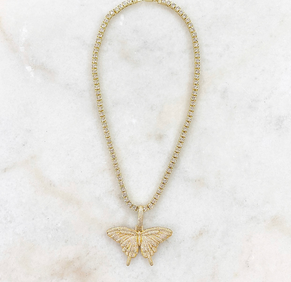 Crystal Monarch Butterfly Tennis Chain