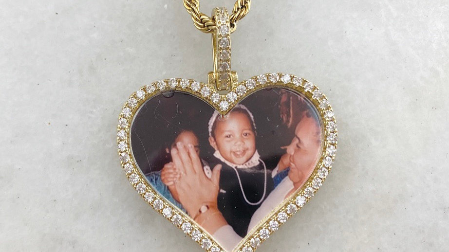 Heart Custom Crystal Picture Necklace
