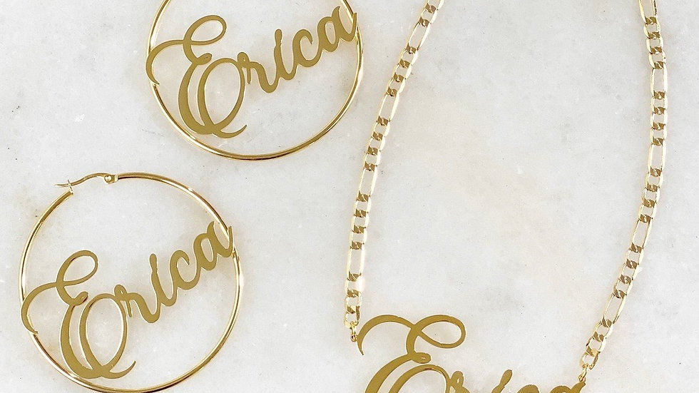 Large Name Plate Necklace & Hoop Set