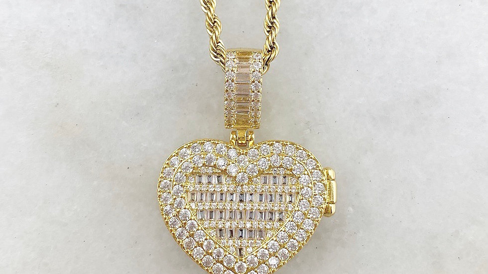 Crystal Heart Custom Crystal Picture Necklace