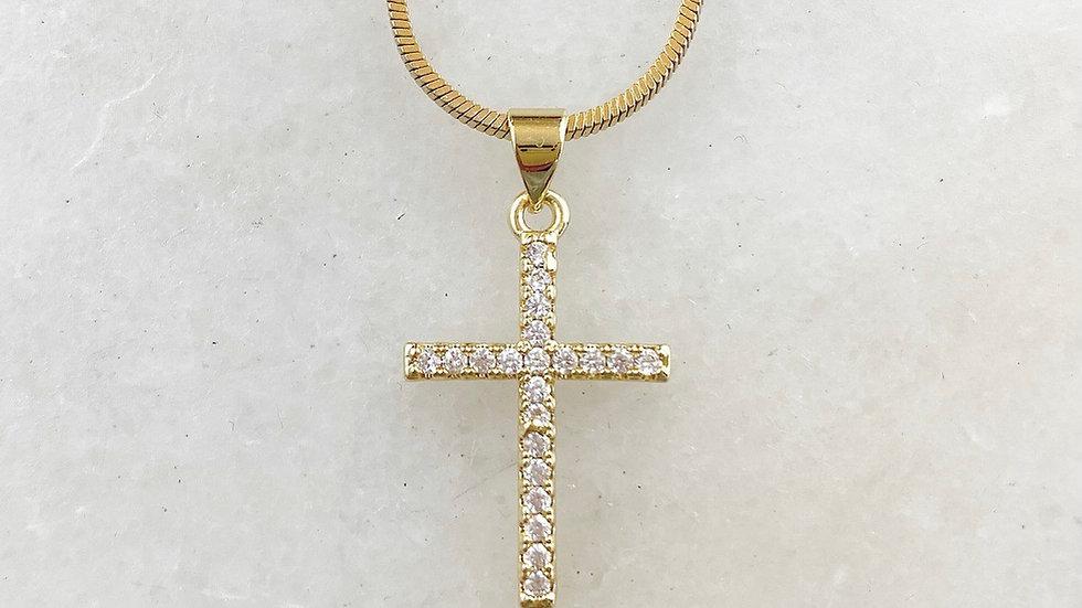18k Gold Filled Crystal Cross Necklace