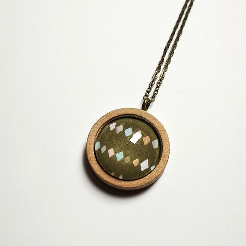 Olive Argyle natural wood long boho necklace