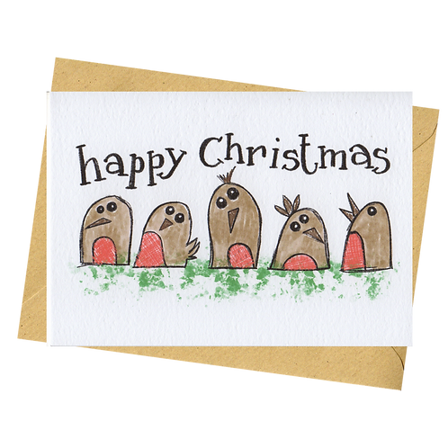 sign & stamp service - Christmas card - WONKY ROBINS
