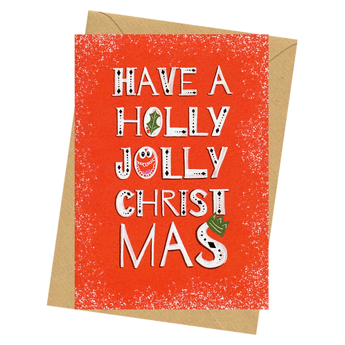 sign & stamp service - luxe Christmas card - HOLLY JOLLY