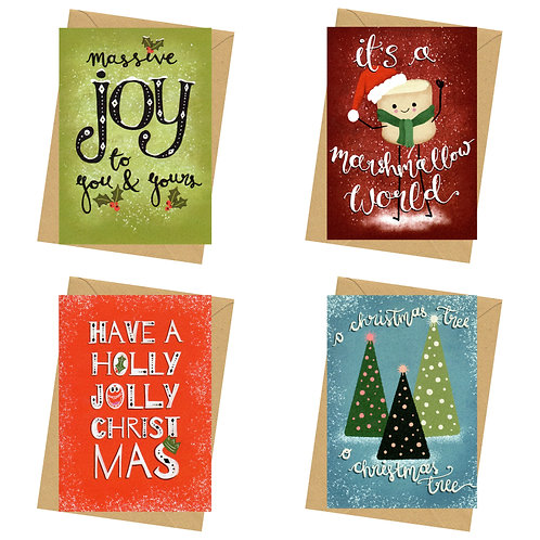 Card pack - not sign & stamp - luxe Christmas cards - The Doodle Collection