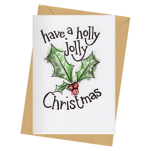 sign & stamp service - Christmas card - HOLLY JOLLY WATERCOLOUR